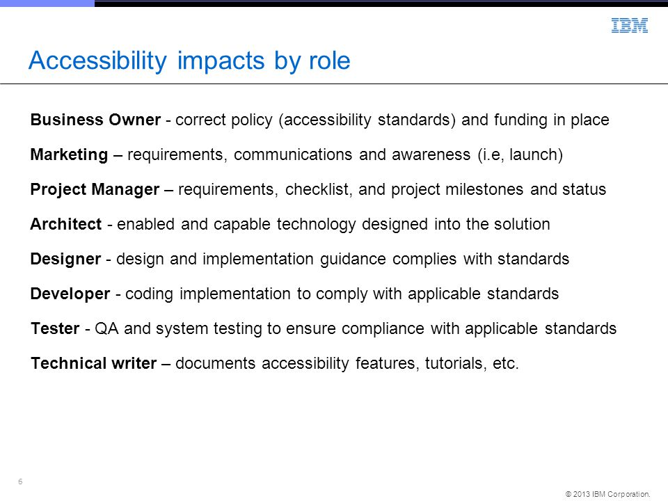 Accessibility impacts by role