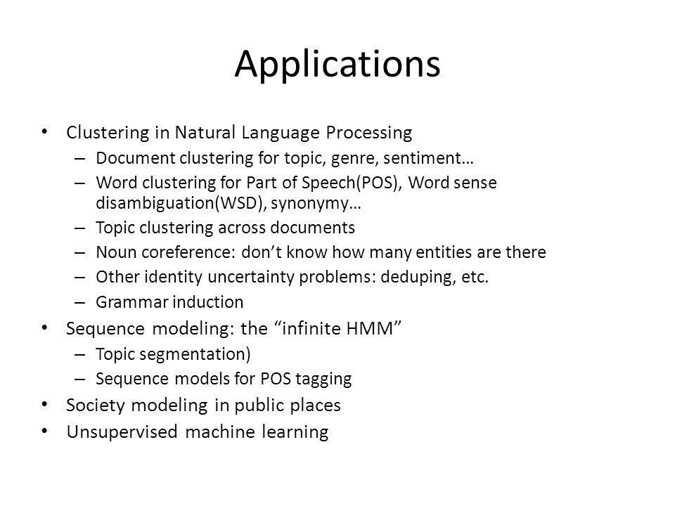 Applications Clustering in Natural Language Processing