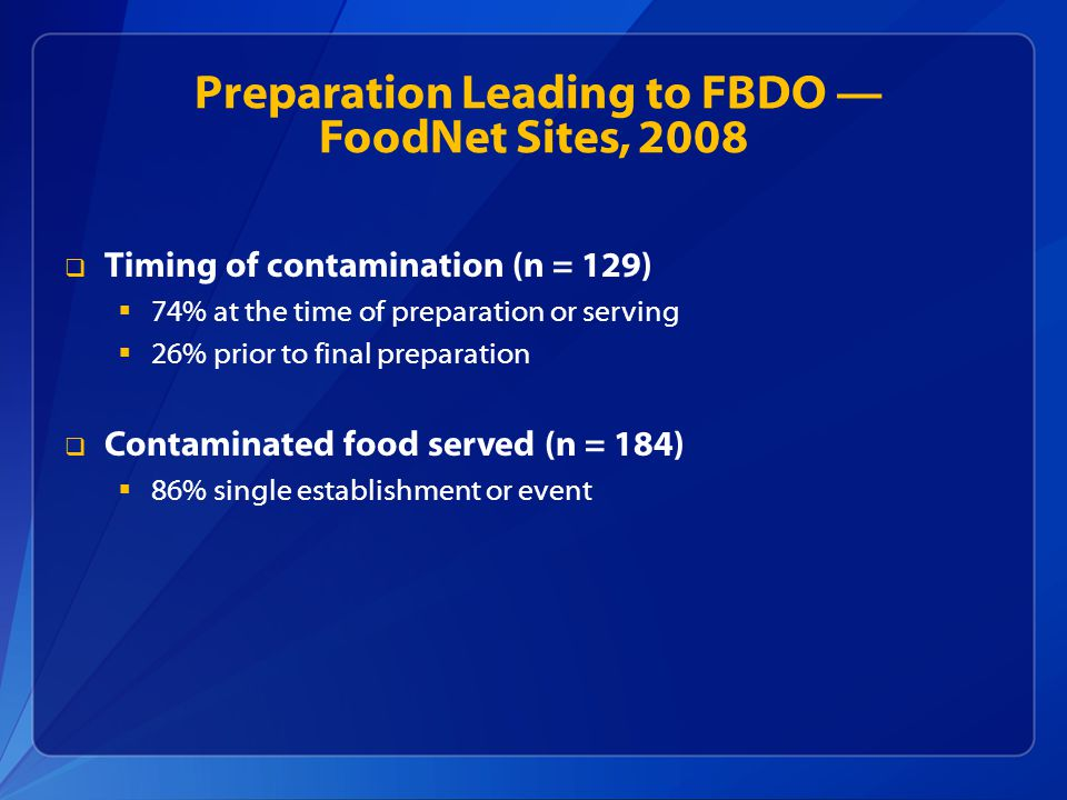 Preparation Leading to FBDO — FoodNet Sites, 2008