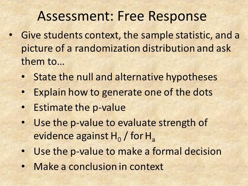 Assessment: Free Response