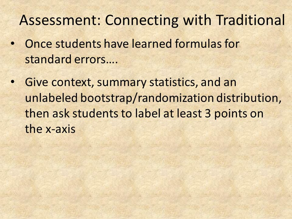 Assessment: Connecting with Traditional
