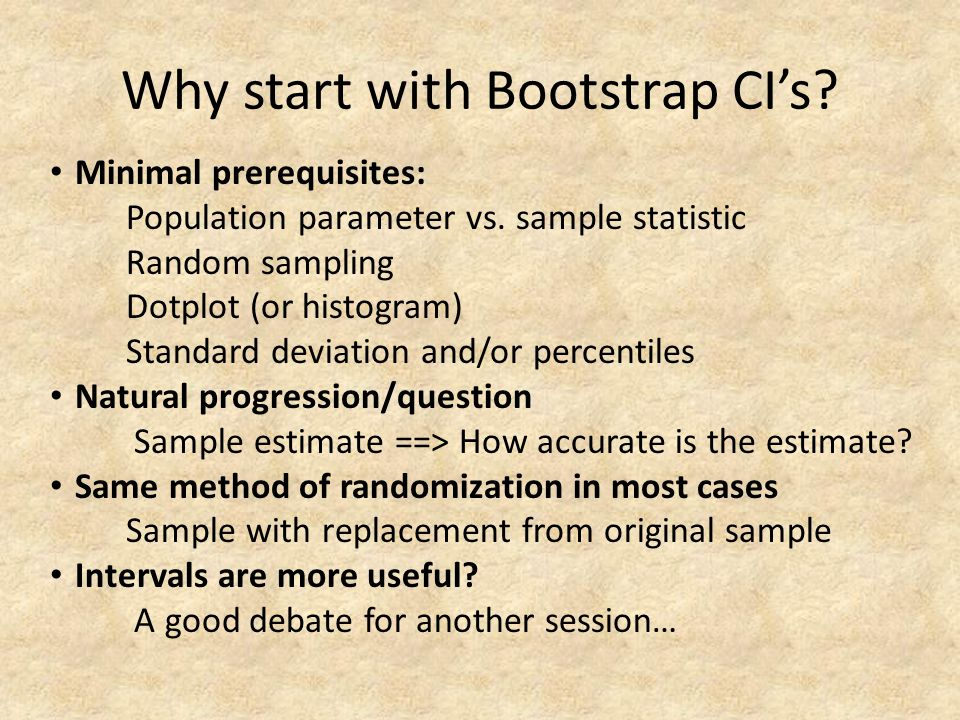 Why start with Bootstrap CI's