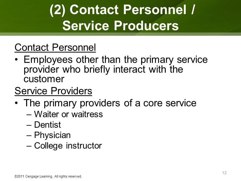 (2) Contact Personnel / Service Producers