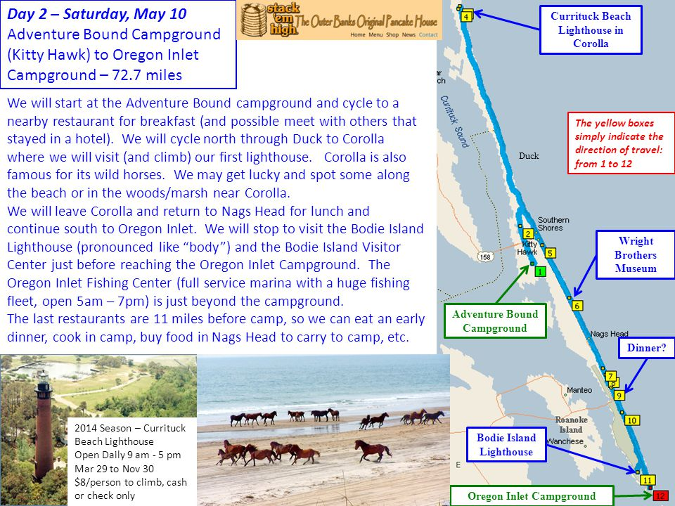 Day 2 – Saturday, May 10 Adventure Bound Campground (Kitty Hawk) to Oregon Inlet Campground – 72.7 miles.