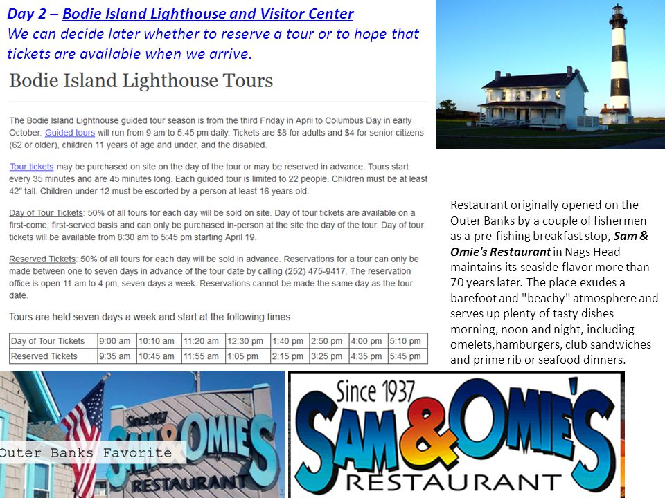 Day 2 – Bodie Island Lighthouse and Visitor Center