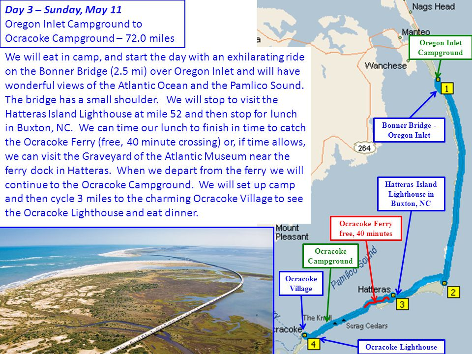 Oregon Inlet Campground to Ocracoke Campground – 72.0 miles