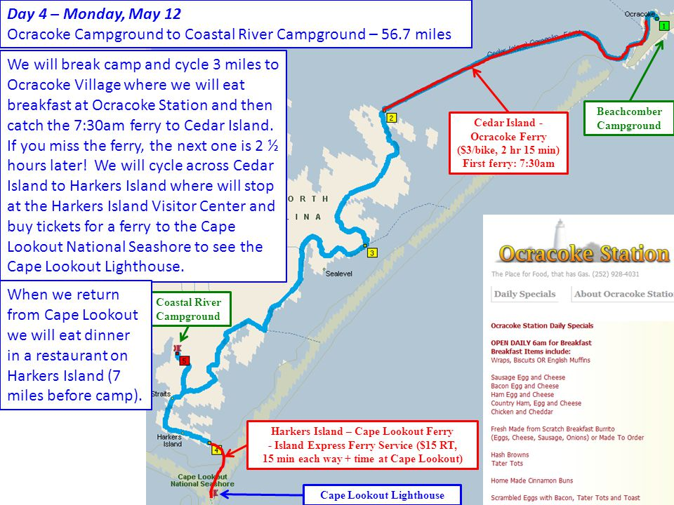 Ocracoke Campground to Coastal River Campground – 56.7 miles