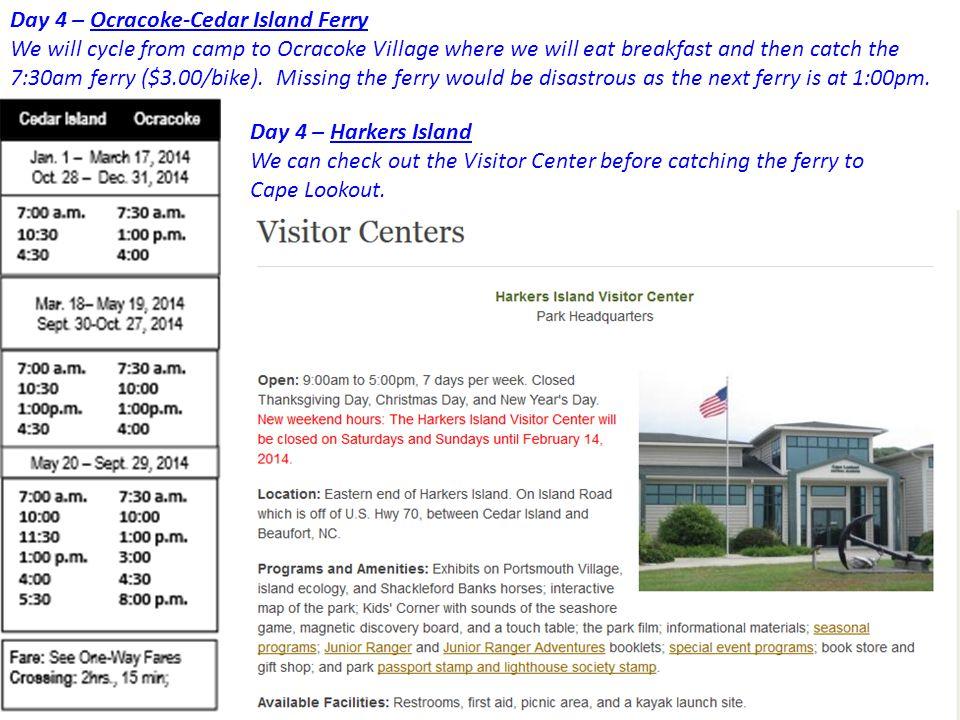 Day 4 – Ocracoke-Cedar Island Ferry