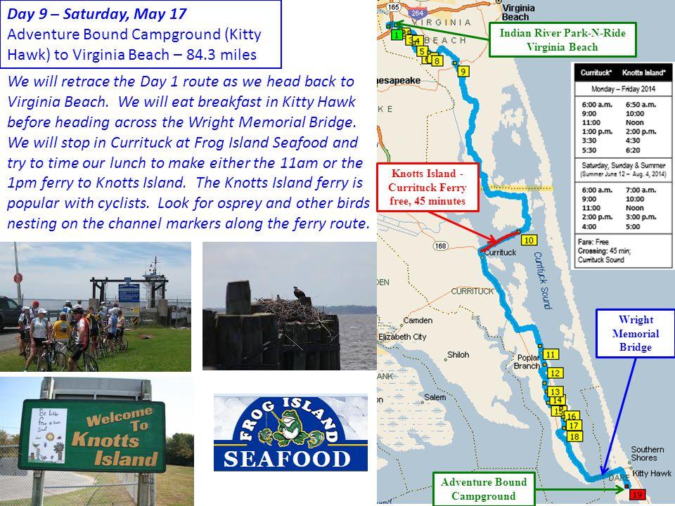 Adventure Bound Campground (Kitty Hawk) to Virginia Beach – 84.3 miles
