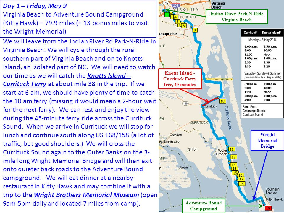 Day 1 – Friday, May 9 Virginia Beach to Adventure Bound Campground (Kitty Hawk) – 79.9 miles (+ 13 bonus miles to visit the Wright Memorial)