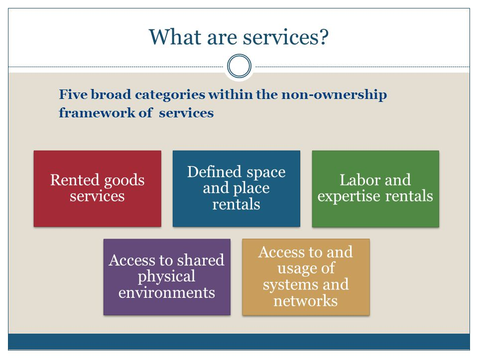 What are services Five broad categories within the non-ownership framework of services. Rented goods services.
