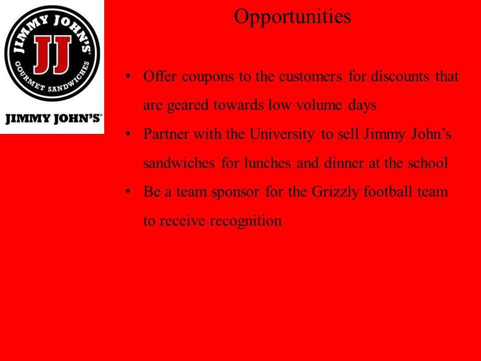 Opportunities Offer coupons to the customers for discounts that are geared towards low volume days.
