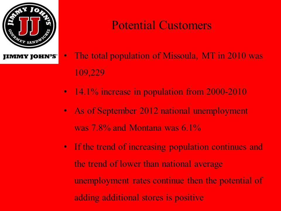 Potential Customers The total population of Missoula, MT in 2010 was 109,229. 14.1% increase in population from 2000-2010.
