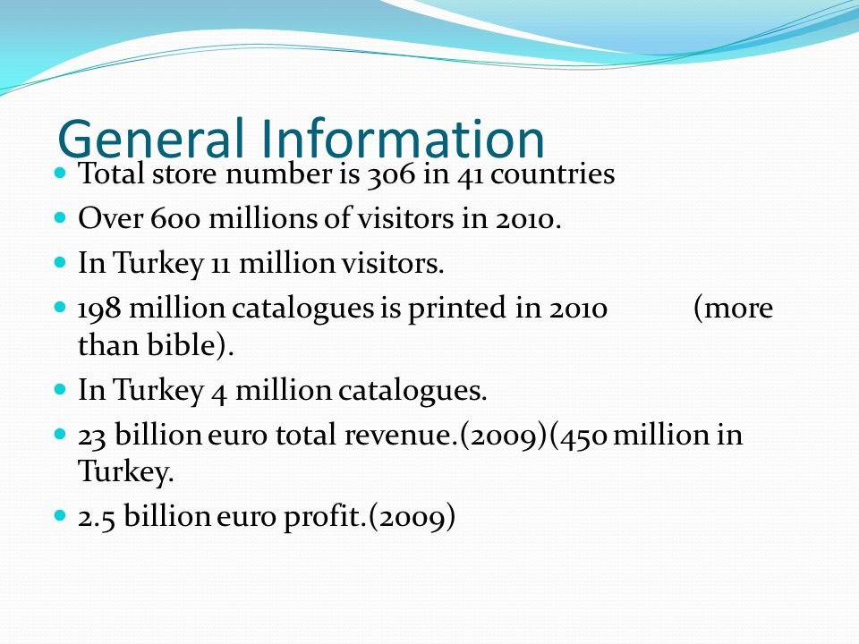 General Information Total store number is 306 in 41 countries