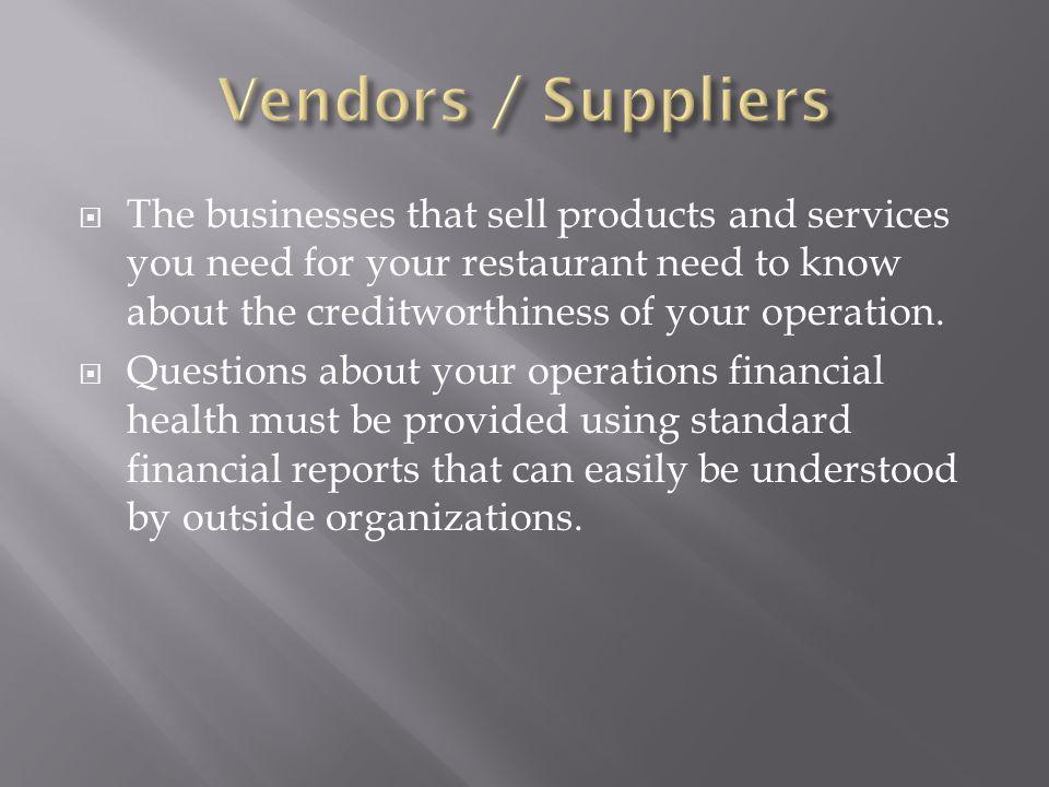 Vendors / Suppliers
