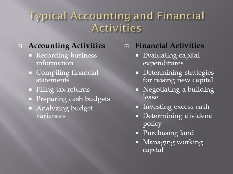Typical Accounting and Financial Activities