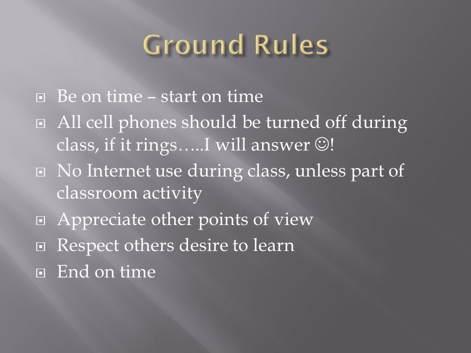 Ground Rules Be on time – start on time