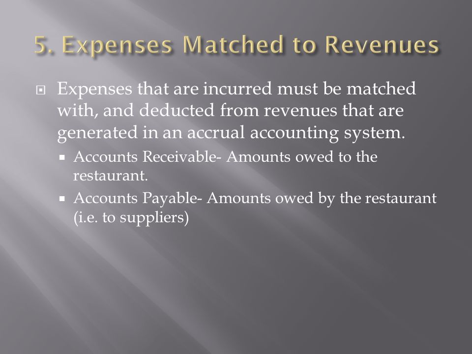 5. Expenses Matched to Revenues