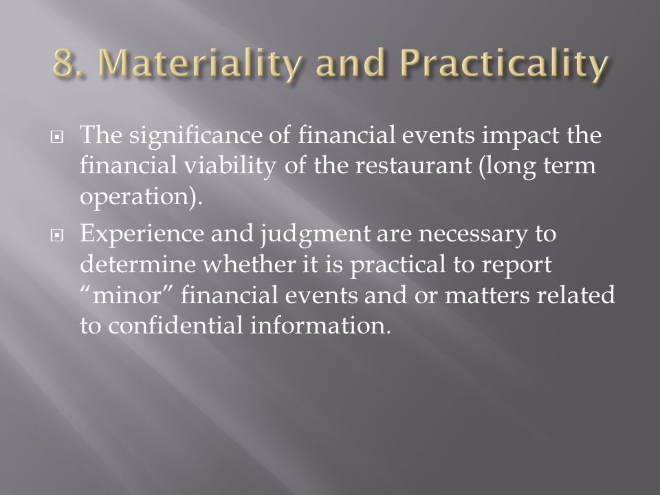 8. Materiality and Practicality