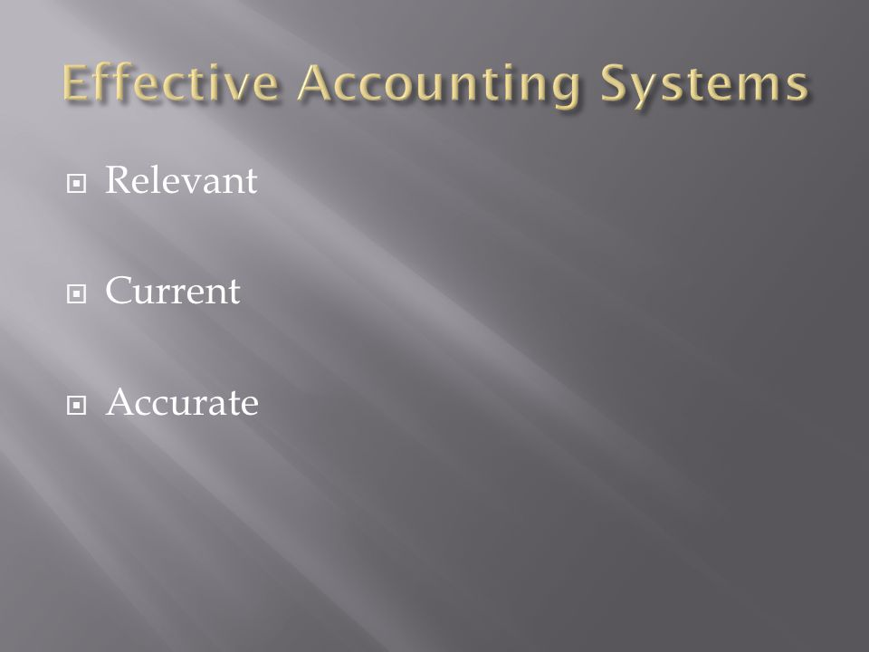 Effective Accounting Systems