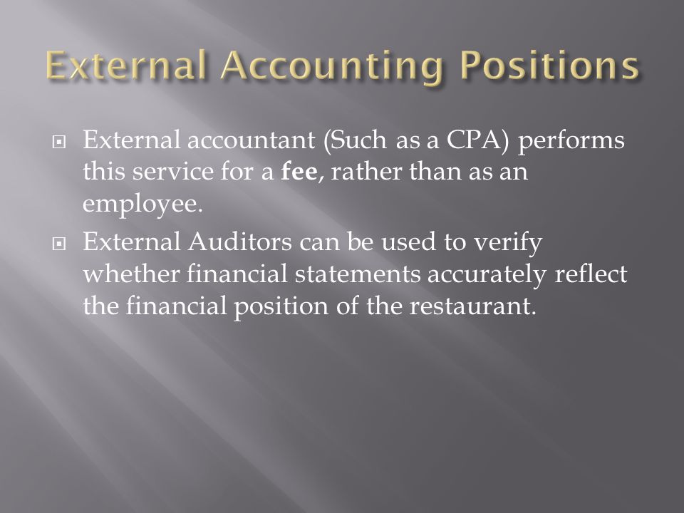 External Accounting Positions
