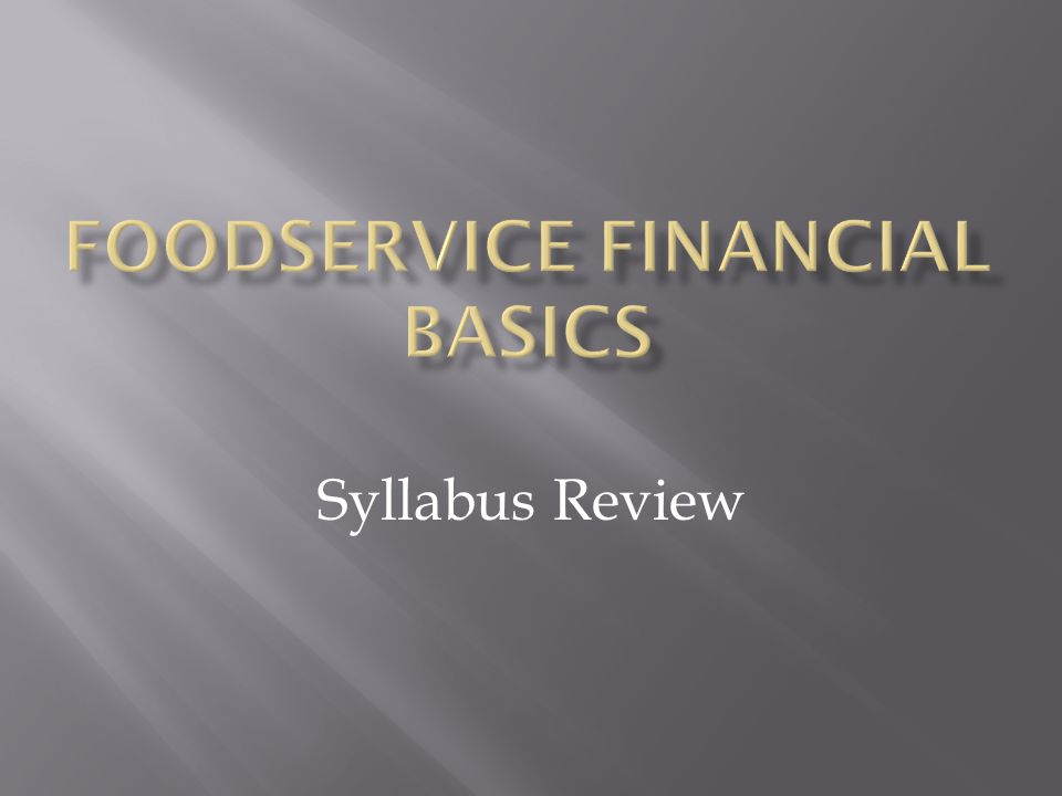 Foodservice financial basics