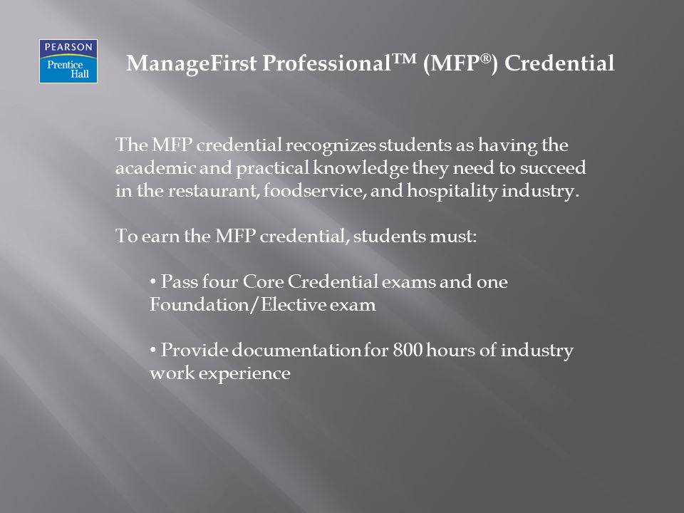 ManageFirst ProfessionalTM (MFP®) Credential