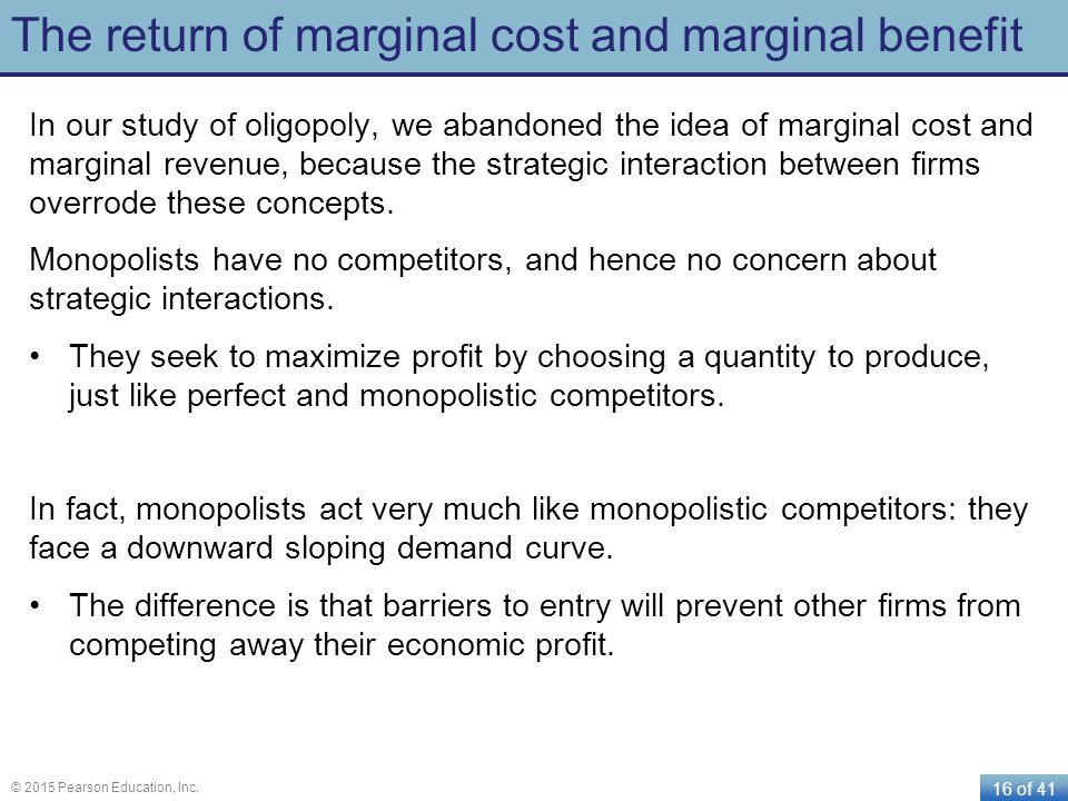 The return of marginal cost and marginal benefit