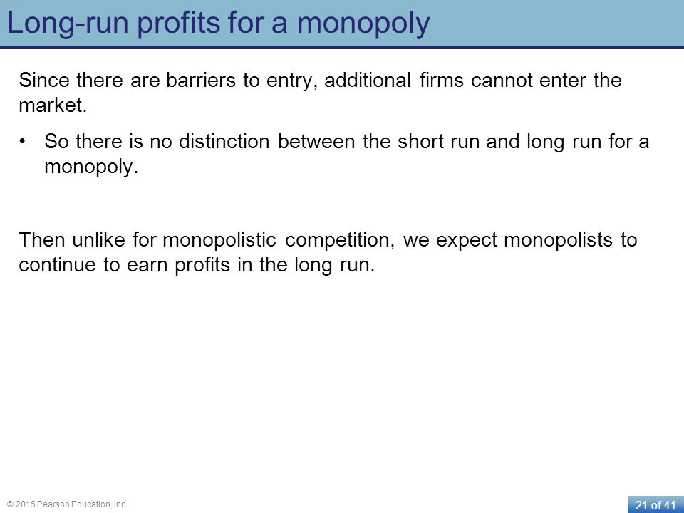Long-run profits for a monopoly