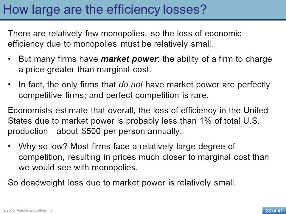How large are the efficiency losses