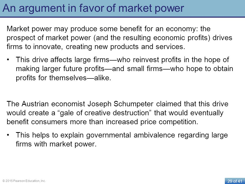 An argument in favor of market power