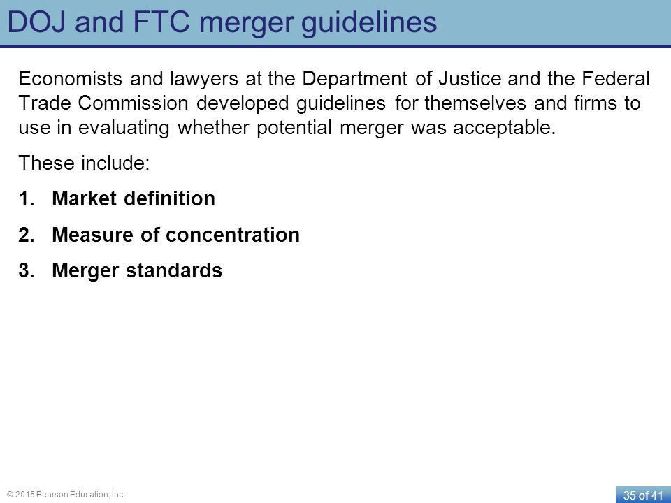 DOJ and FTC merger guidelines