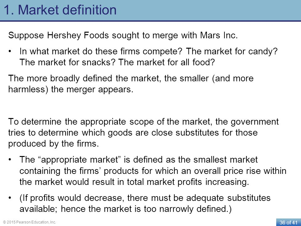 1. Market definition Suppose Hershey Foods sought to merge with Mars Inc.