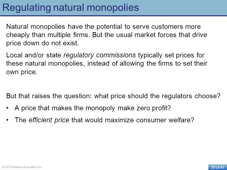 Regulating natural monopolies