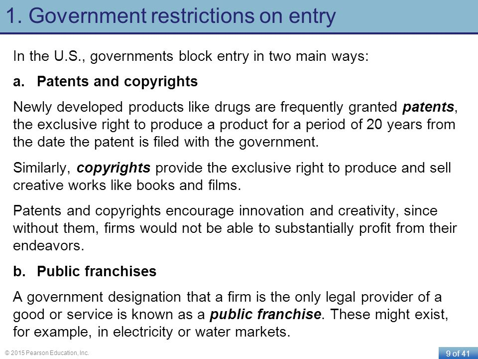 1. Government restrictions on entry