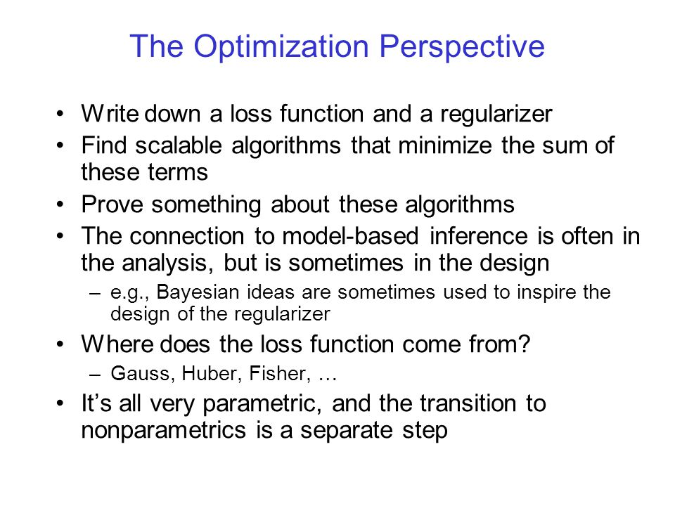 The Optimization Perspective