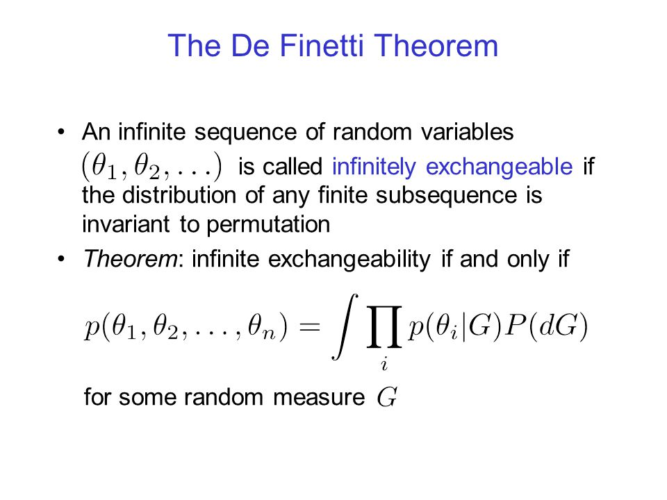 The De Finetti Theorem An infinite sequence of random variables