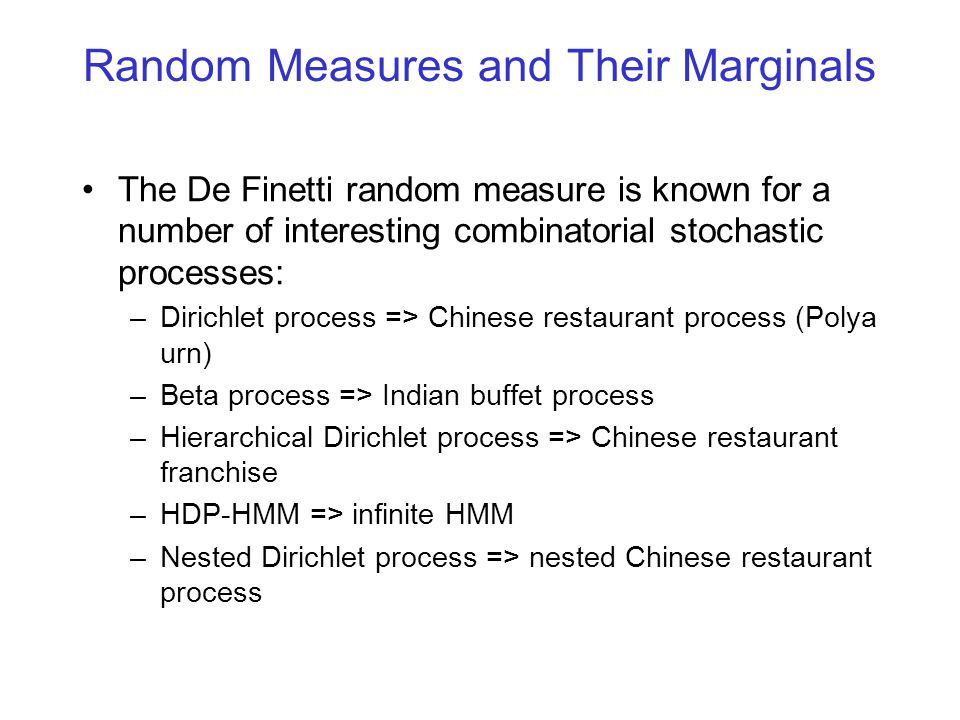 Random Measures and Their Marginals