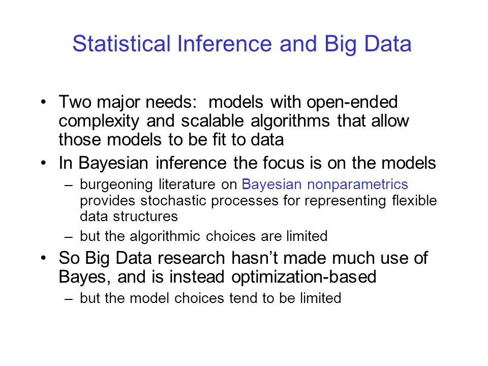 Statistical Inference and Big Data