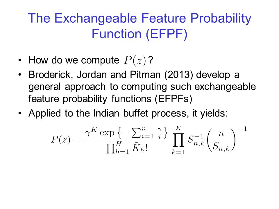 The Exchangeable Feature Probability Function (EFPF)