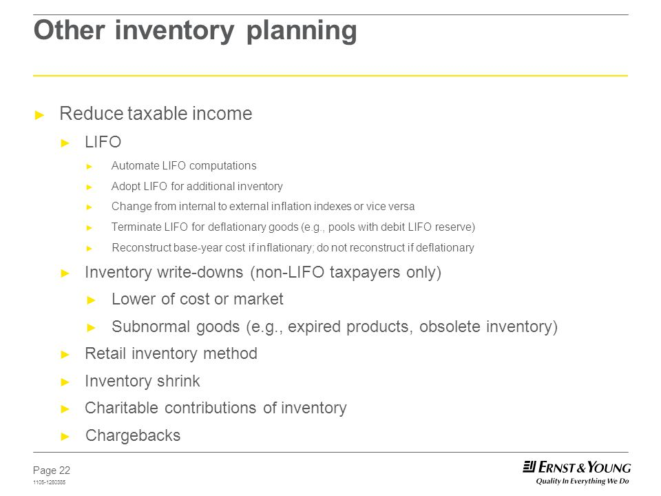 Other inventory planning