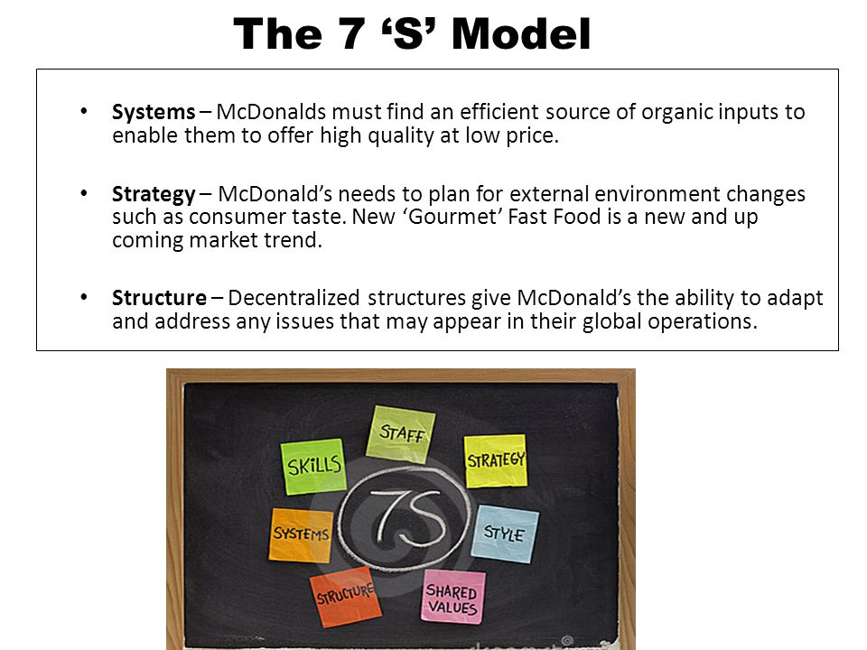 The 7 'S' Model Systems – McDonalds must find an efficient source of organic inputs to enable them to offer high quality at low price.