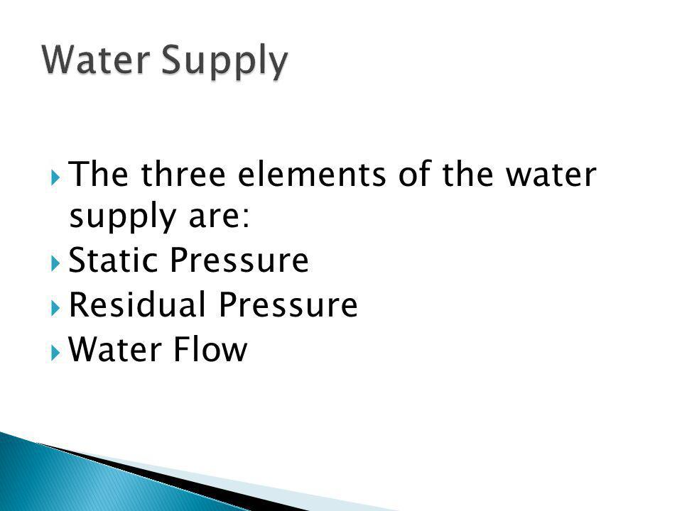 Water Supply The three elements of the water supply are: