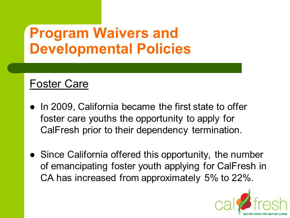 INTRODUCTION TO THE CALFRESH PROGRAM - ppt video online download