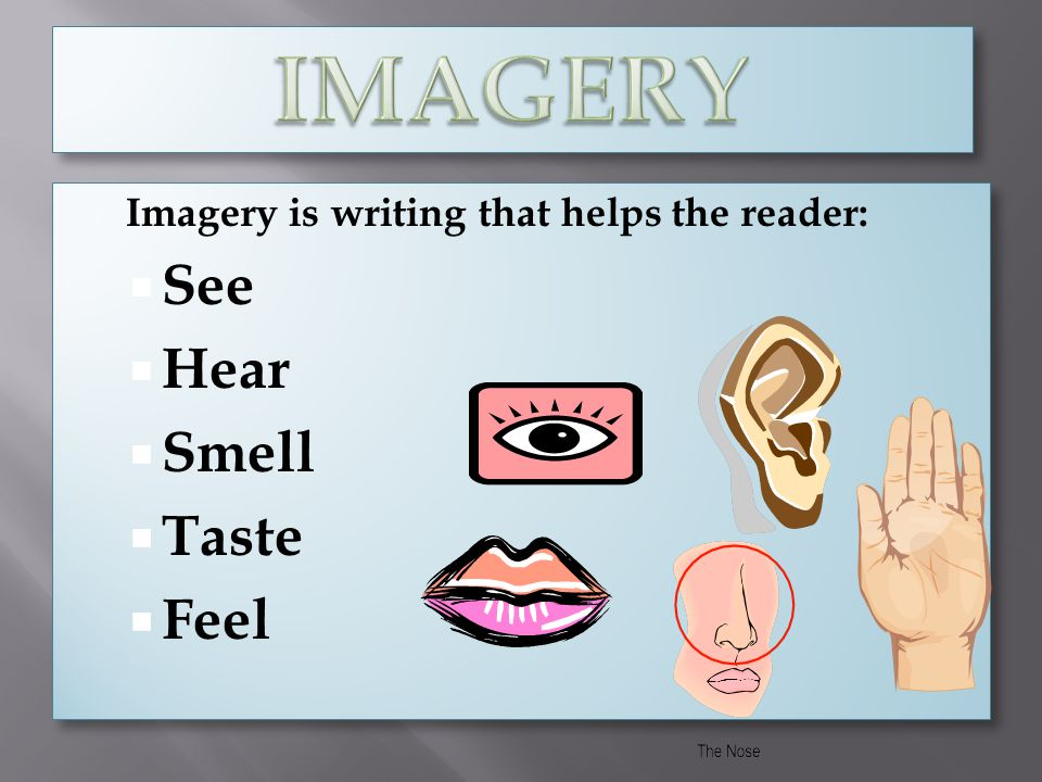 IMAGERY See Hear Smell Taste Feel