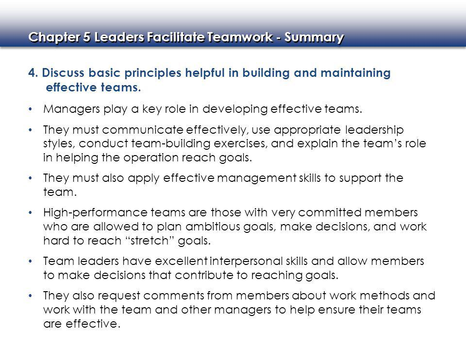 4. Discuss basic principles helpful in building and maintaining effective teams.