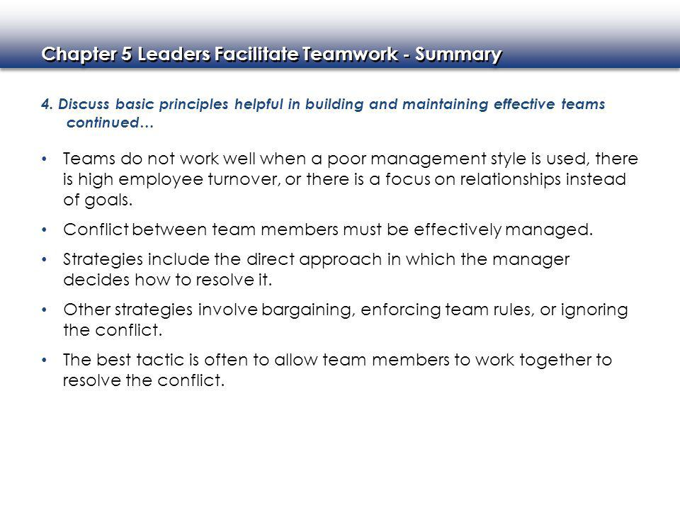 Conflict between team members must be effectively managed.
