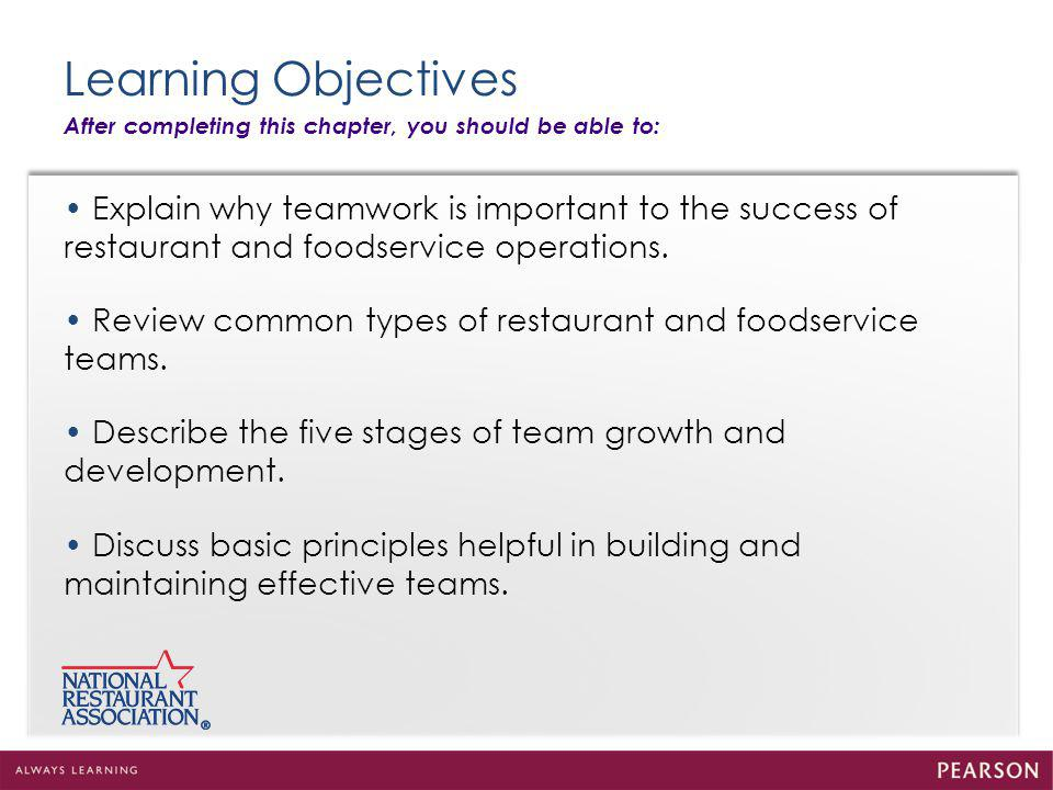 Learning Objectives After completing this chapter, you should be able to: • Explain why teamwork is important to the success of.