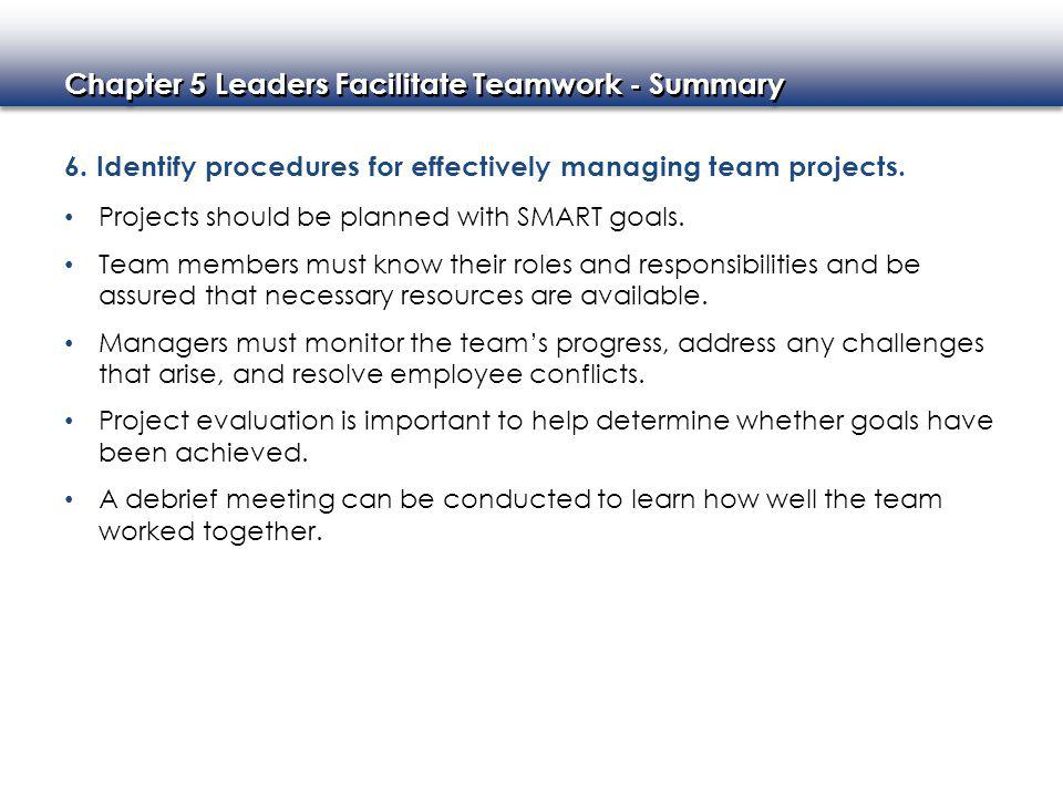 6. Identify procedures for effectively managing team projects.