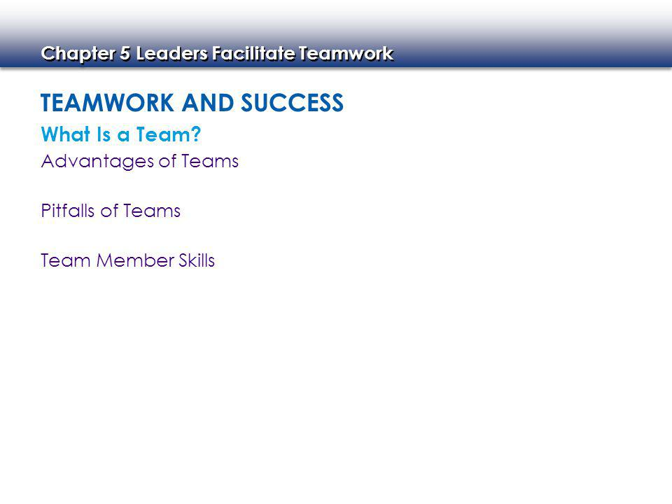 Teamwork and Success What Is a Team Advantages of Teams